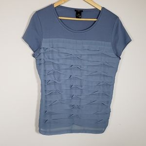 ann Taylor blue ruffled front